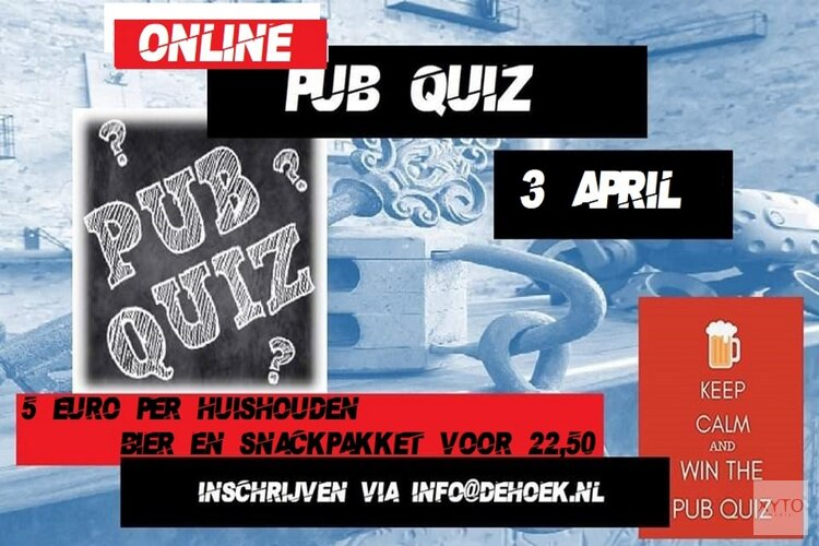 Tweede editie Online Pub Quiz van De Hoek op 3 april