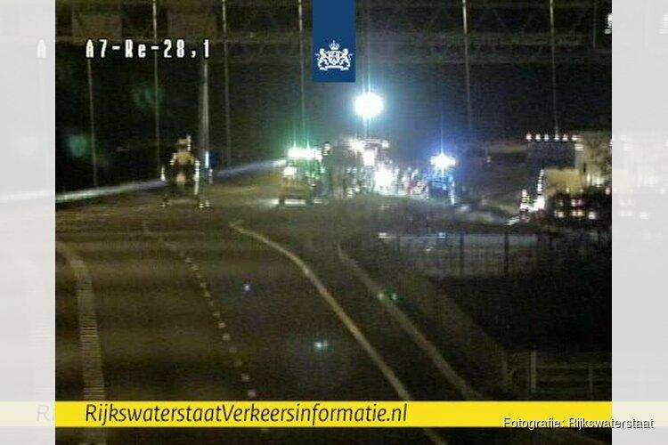 A7 afgesloten bij Avenhorn na ongeval, traumaheli ter plaatse