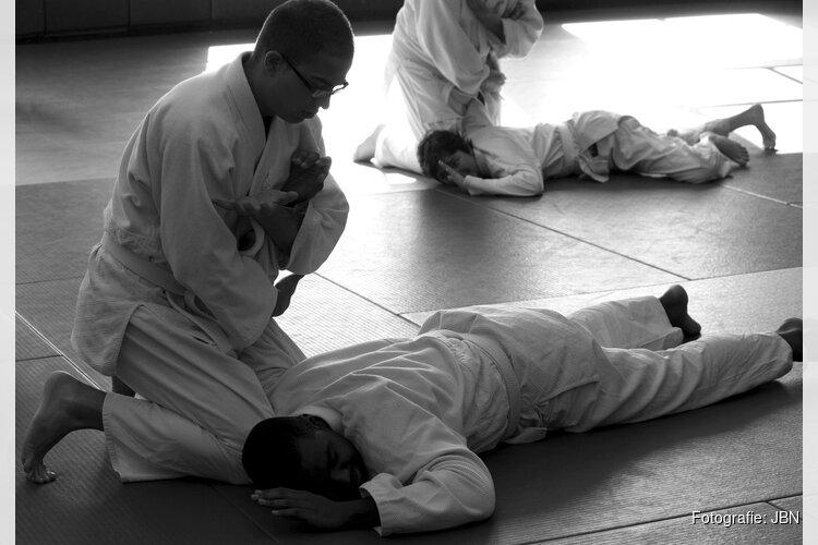 Aikidoleraar uit Purmerend in actie tijdens JBN aikidofestijn