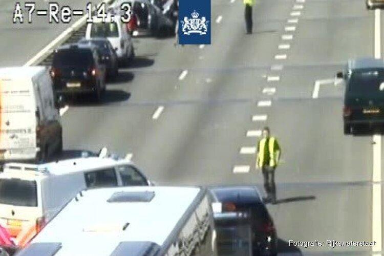 Flinke file op A7 richting Hoorn na ongeluk met meerdere auto's